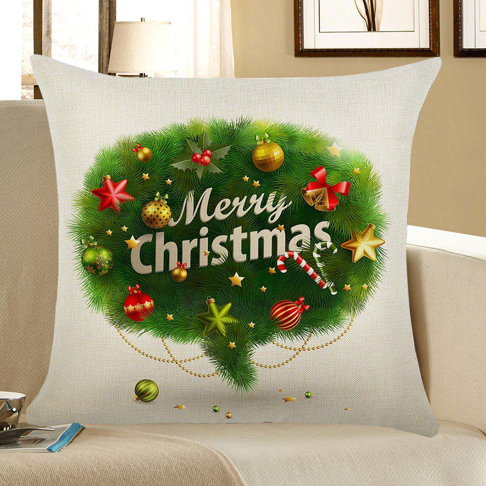 Jingling Bell Pattern Square Pillow Case - GREEN W18 INCH * L18 INCH