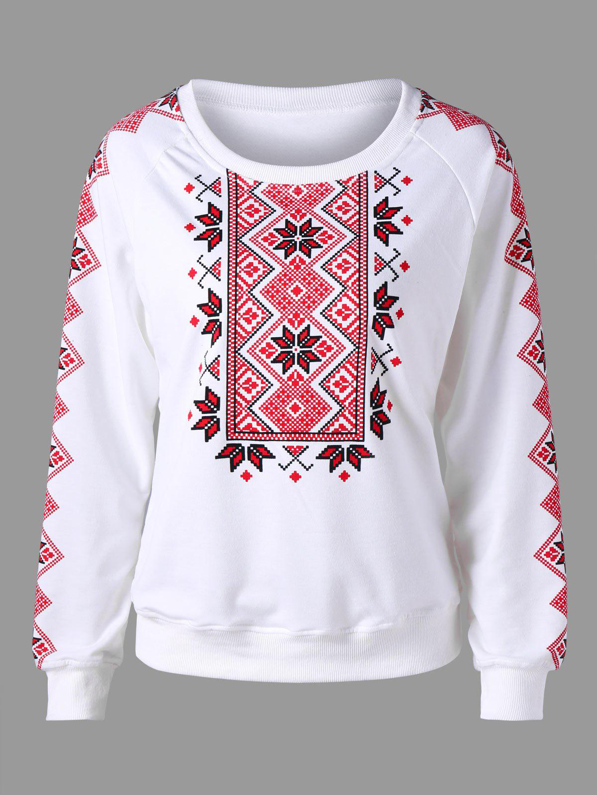 Tribal Print Sweatshirt - WHITE L