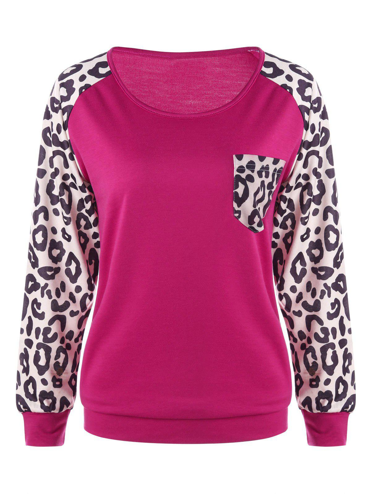 Patch Pocket Leopard Sweatshirt - PLUM L
