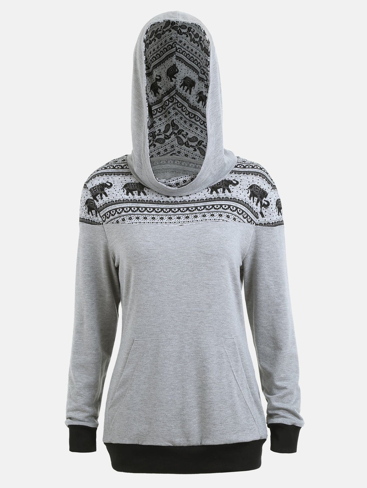 Kangaroo Hoodie with Ethnic Elephant Print - GRAY XL