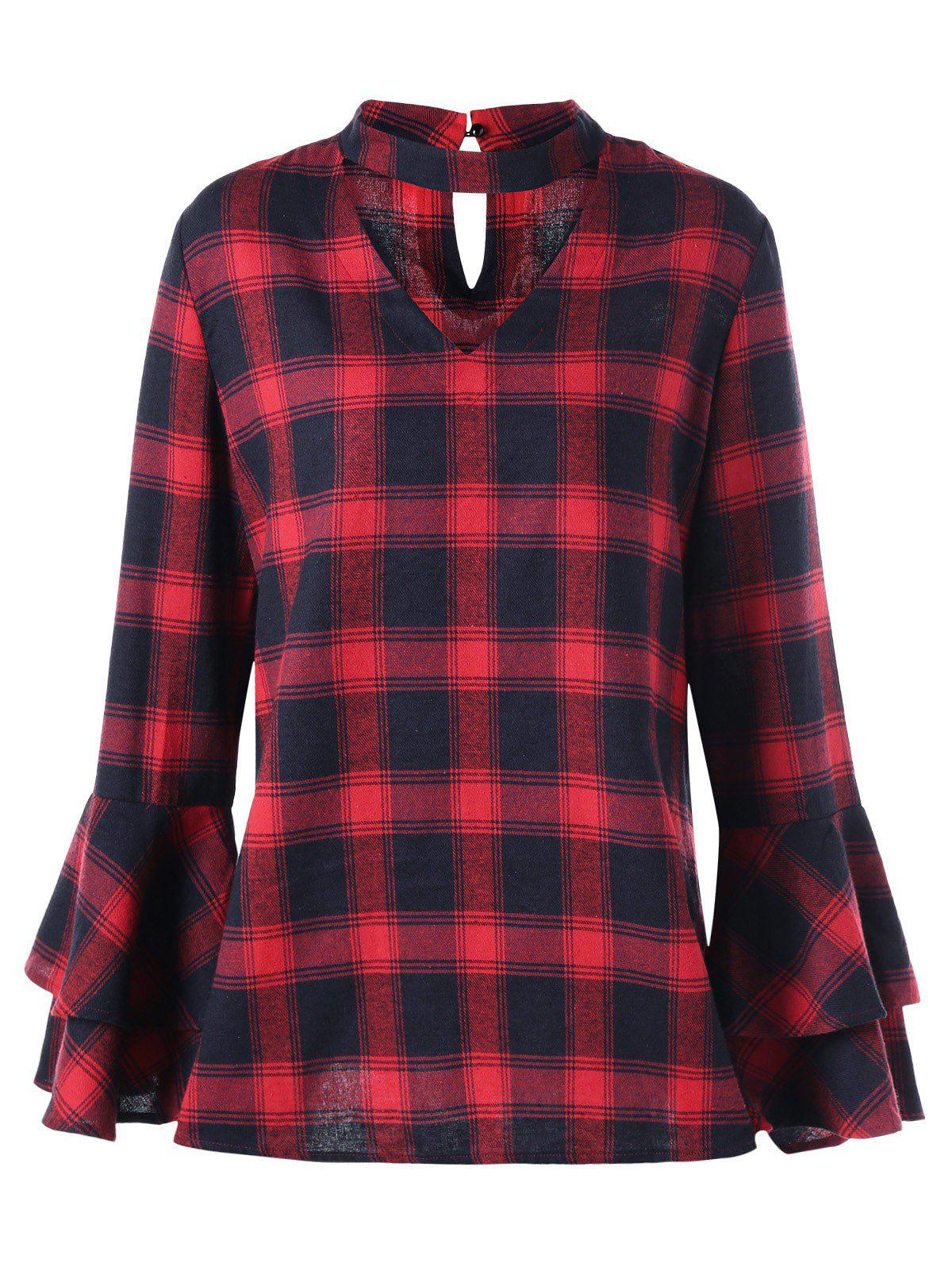 Plus Size Plaid Flare Sleeve Choker Blouse - RED/BLACK 5XL