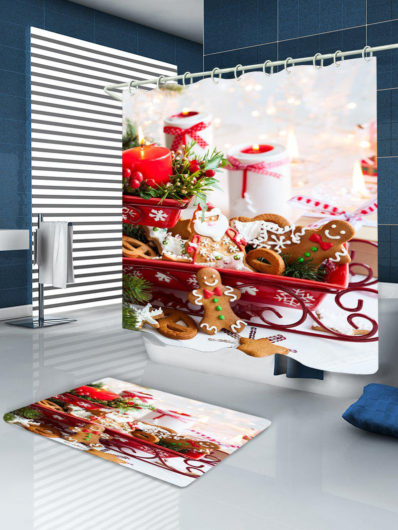 Christmas Candle Cookies Print Waterproof Bathroom Shower Curtain - COLORMIX W59 INCH * L71 INCH