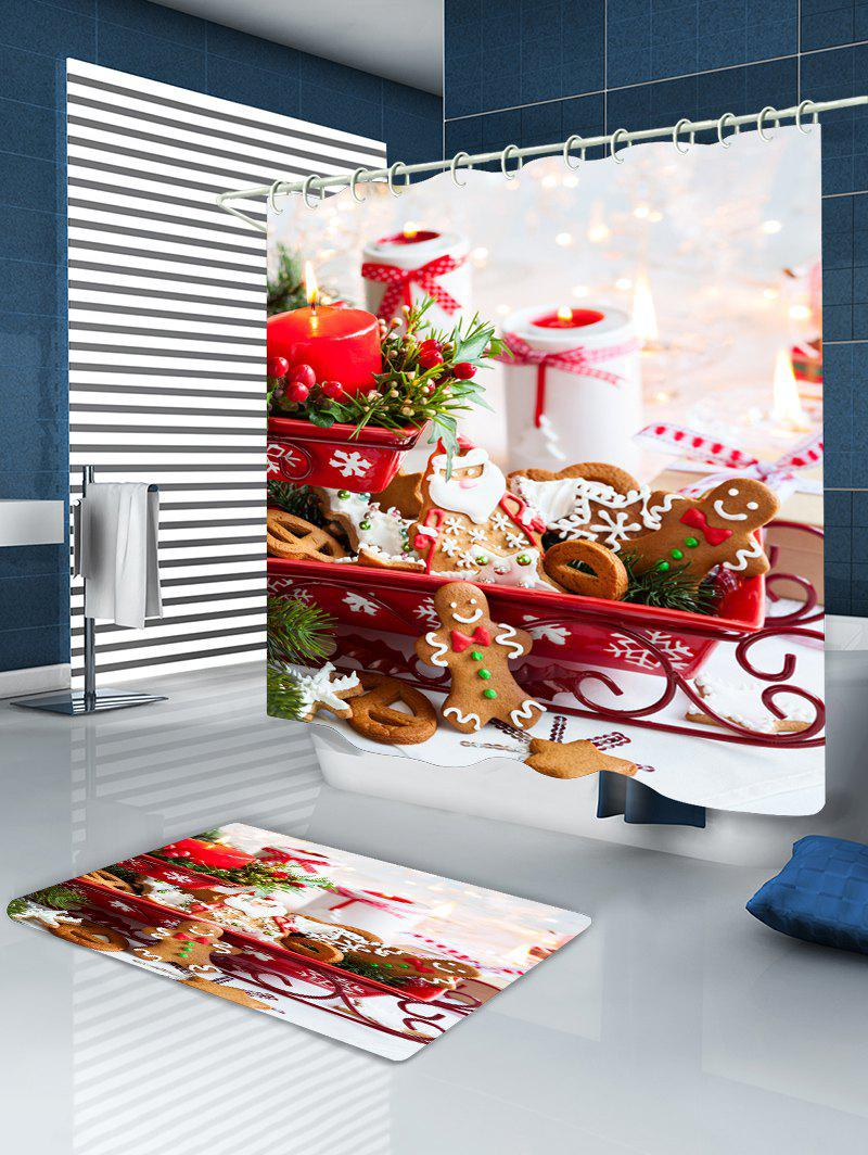 Christmas Candle Cookies Print Waterproof Bathroom Shower Curtain - COLORMIX W71 INCH * L71 INCH