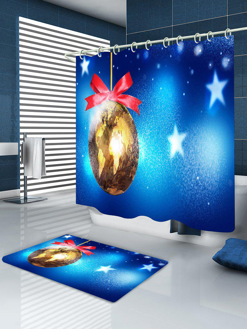 Christmas Map Bauble Print Waterproof Bathroom Shower Curtain - BLUE W59 INCH * L71 INCH