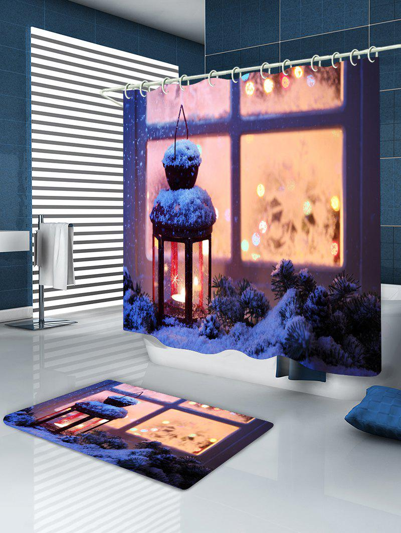 Christmas Lantern Print Waterproof Bathroom Shower Curtain - COLORMIX W71 INCH * L71 INCH