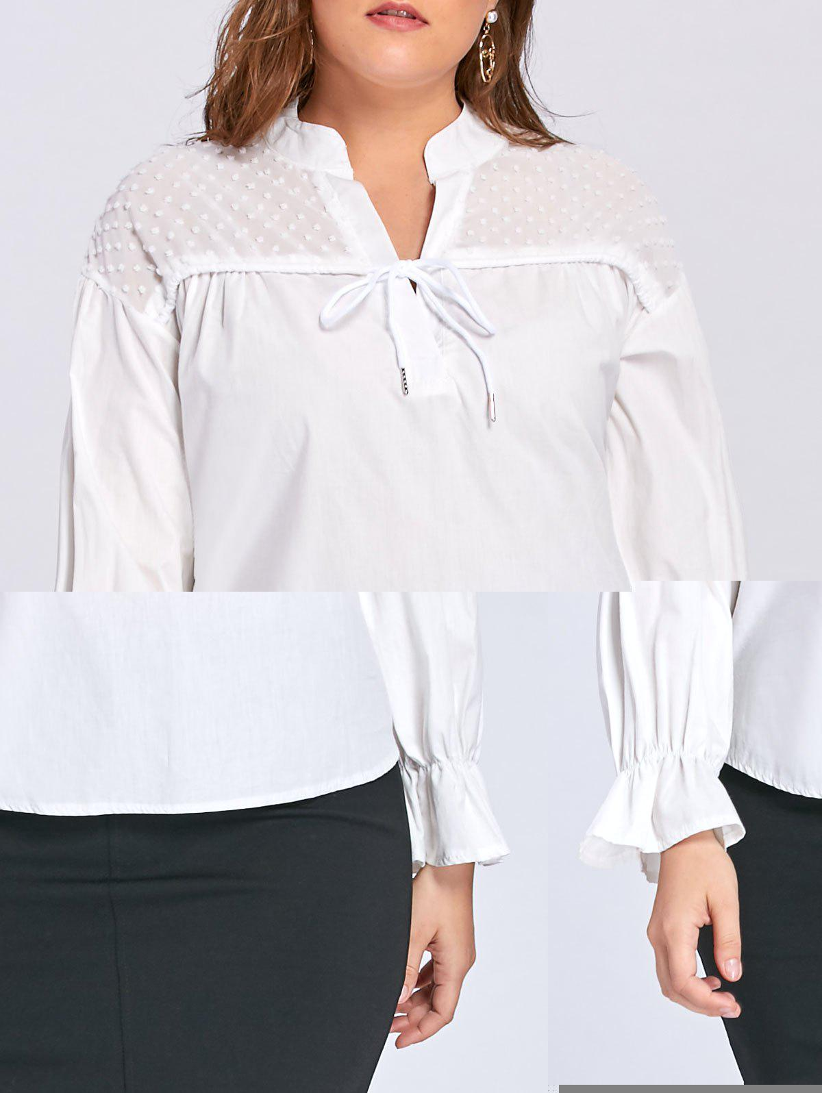 Plus Size Transparent Embellished Drawstring Blouse - WHITE 2XL