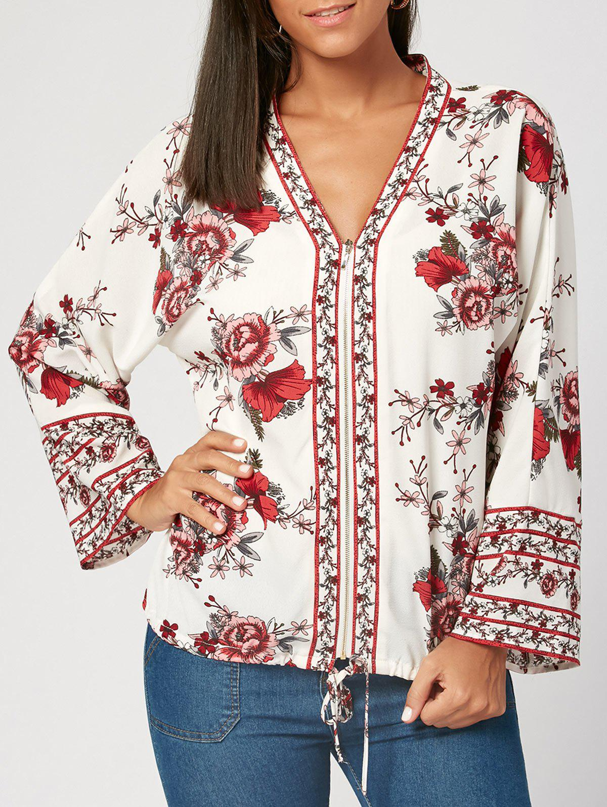 V Neck Flower Print Zip Up Blouse - WHITE M