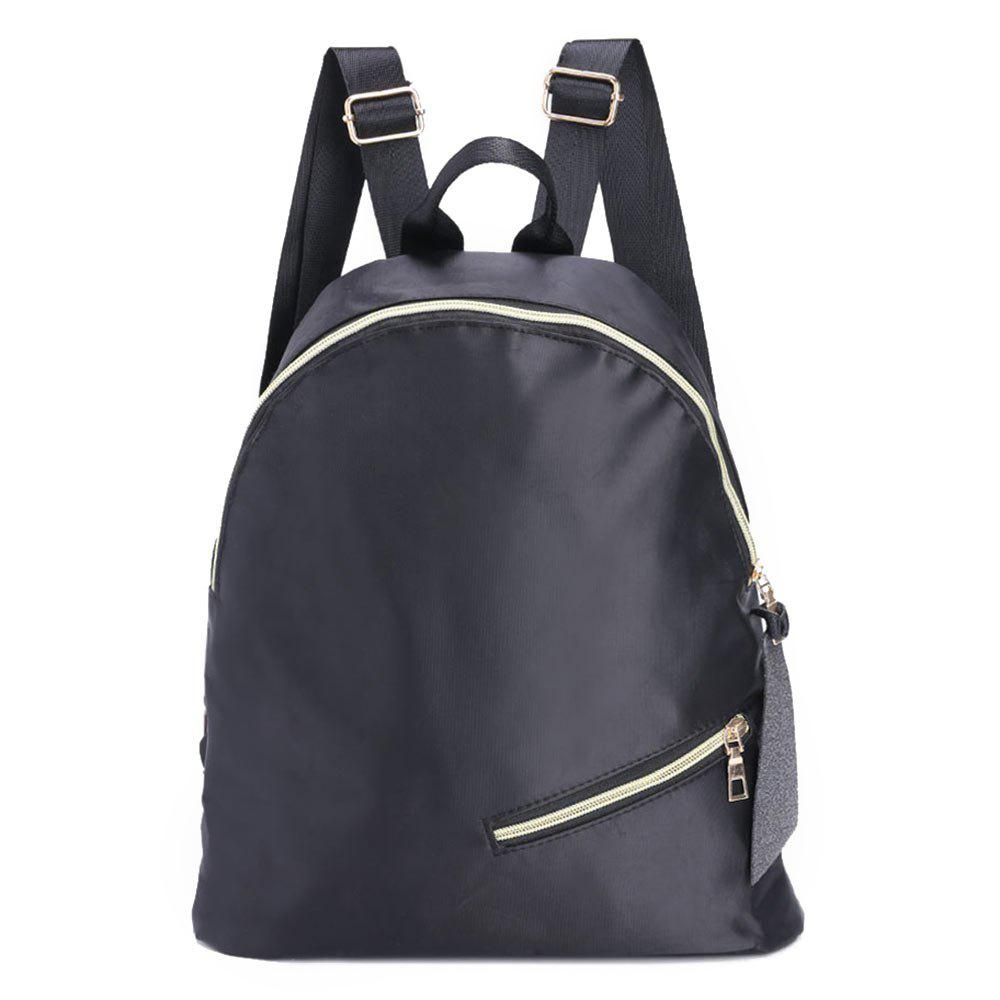 Nylon Zipper Backpack - BLACK