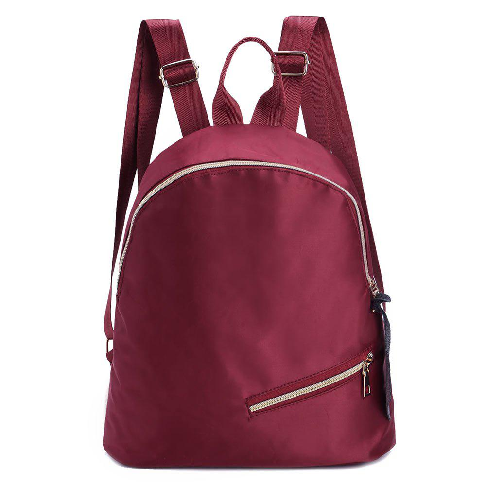 Nylon Zipper Backpack - WINE RED
