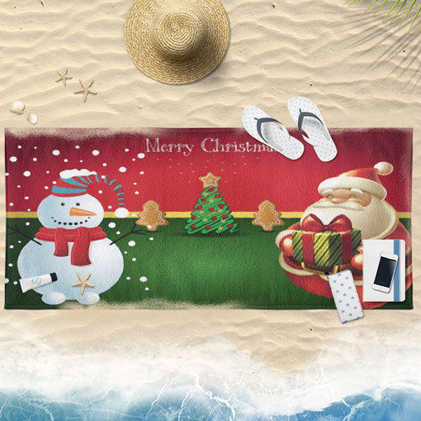 Christmas Water Absorption Printed Bath Towel - RED/GREEN 75CM*150CM