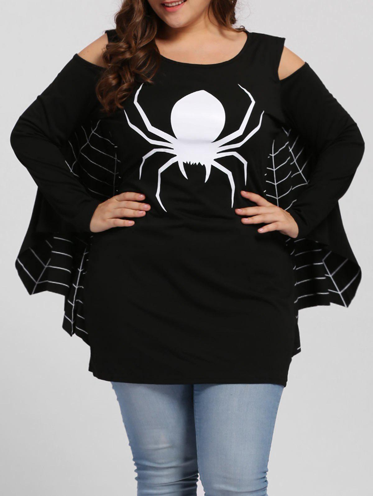 Plus Size Spider Batwing Halloween Costume - BLACK 2XL