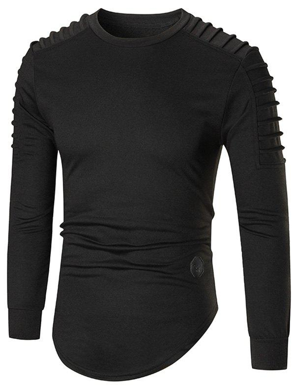 Ruched High Low Hem Long Sleeve T-shirt - BLACK L