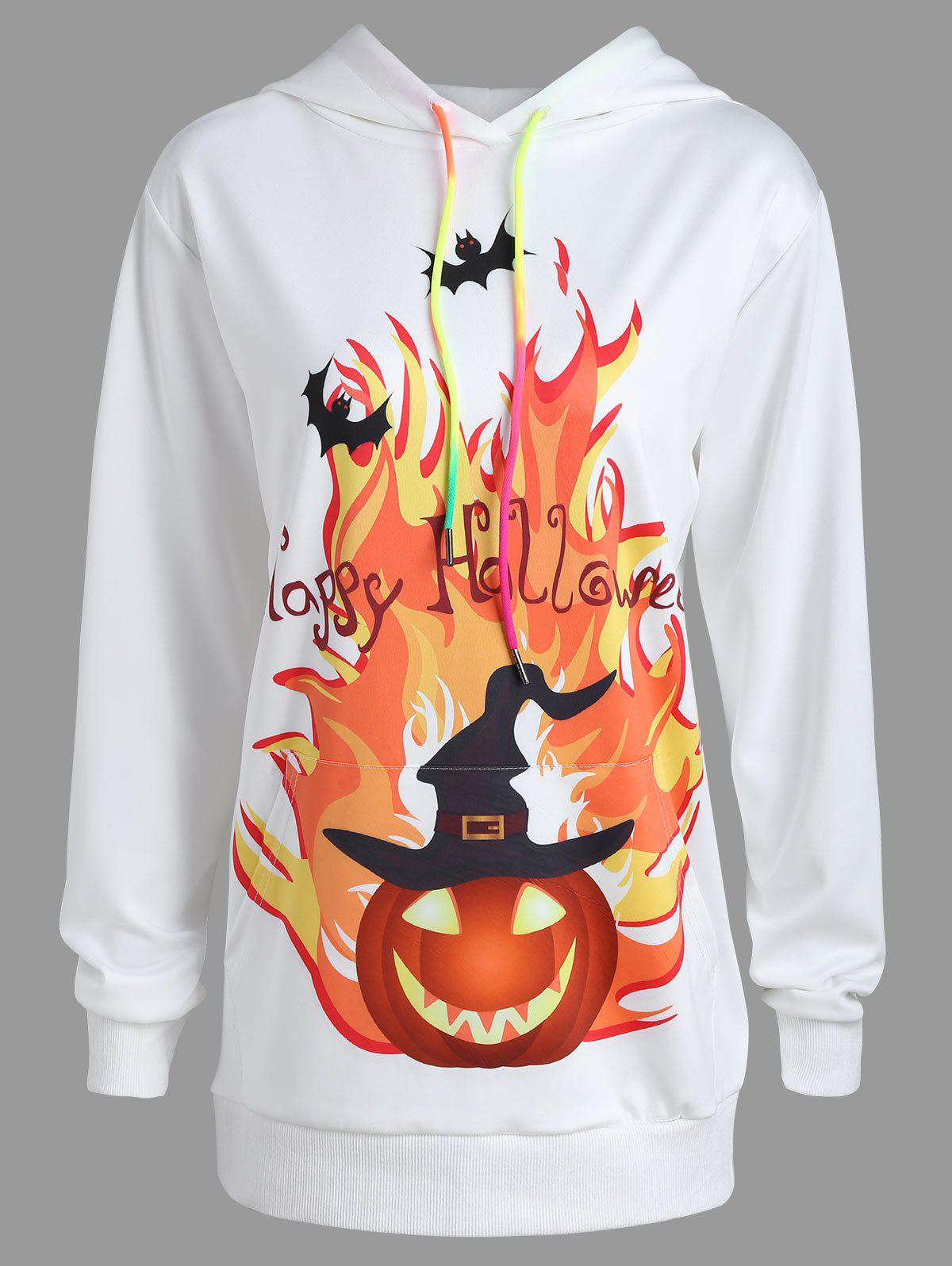 Plus Size Happy Halloween Pumpkin Print Hoodie - WHITE 2XL