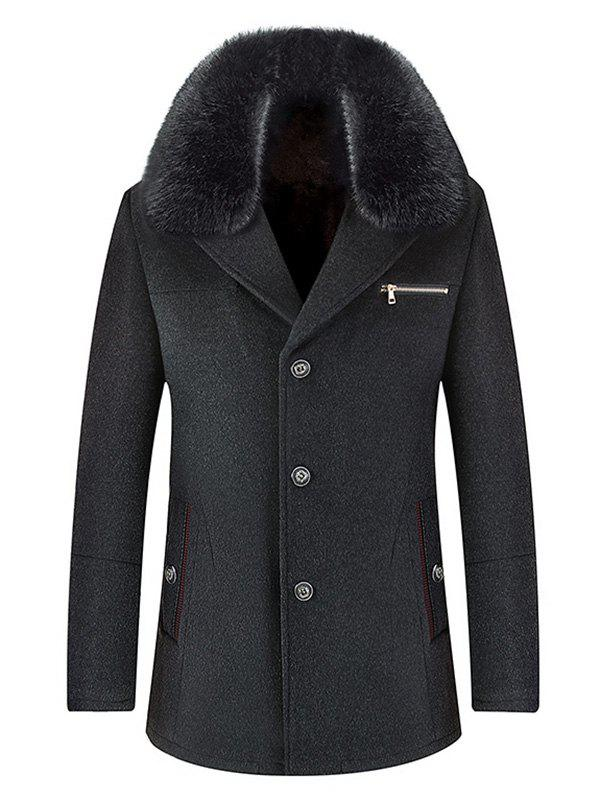 Wool Blend Detachable Collar Single Breasted Coat - DEEP GRAY 3XL