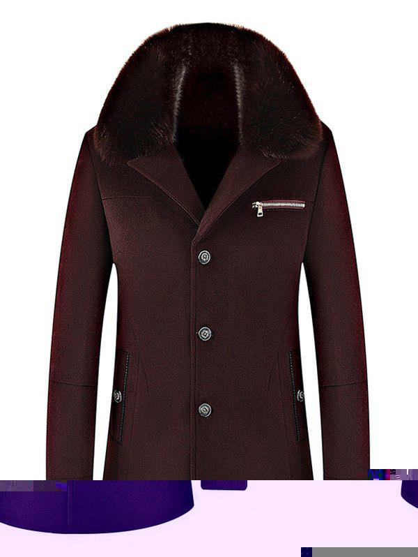 Wool Blend Detachable Collar Single Breasted Coat - WINE RED XL