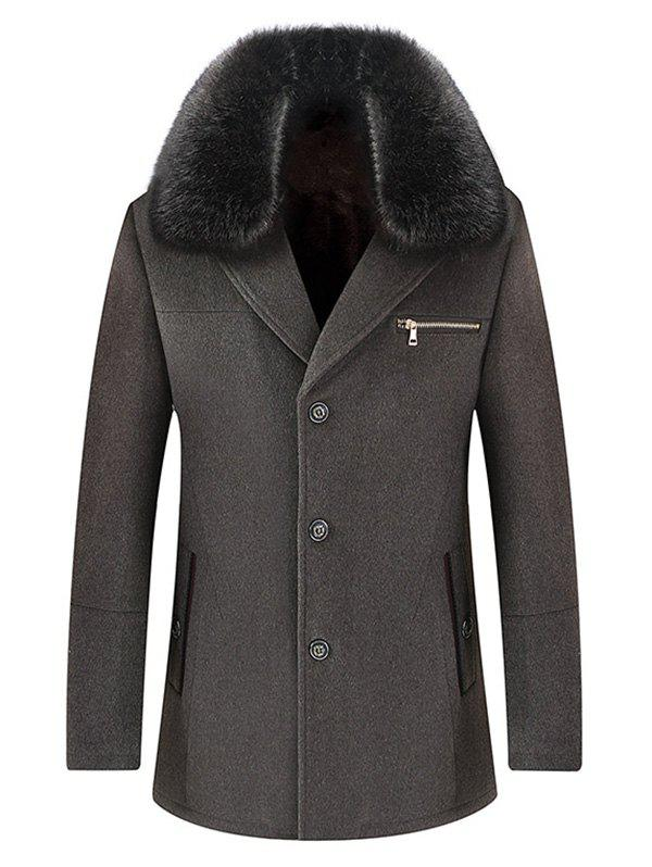 Wool Blend Detachable Collar Single Breasted Coat - GRAY XL