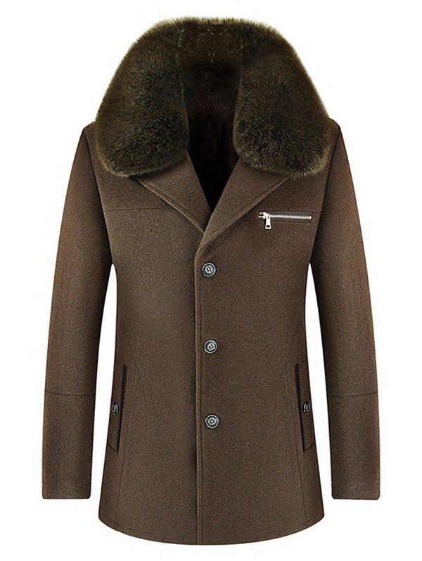 Wool Blend Detachable Collar Single Breasted Coat - COFFEE 3XL