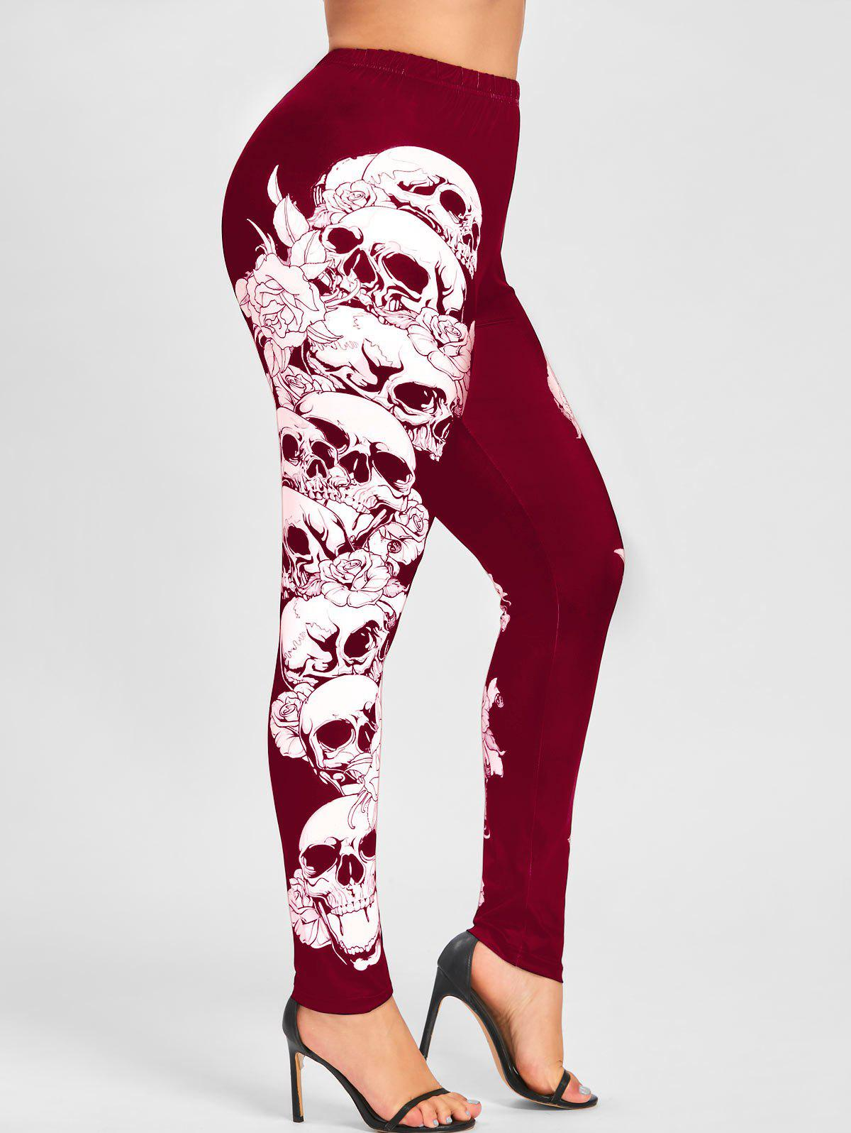 Plus Size Halloween Monochrome Skulls Leggings - RED 3XL