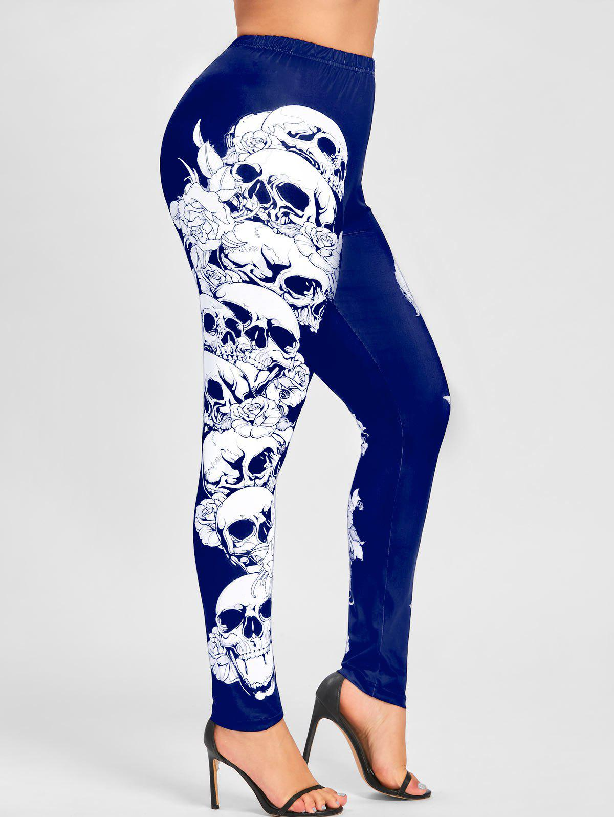 Plus Size Halloween Monochrome Skulls Leggings - BLUE 4XL