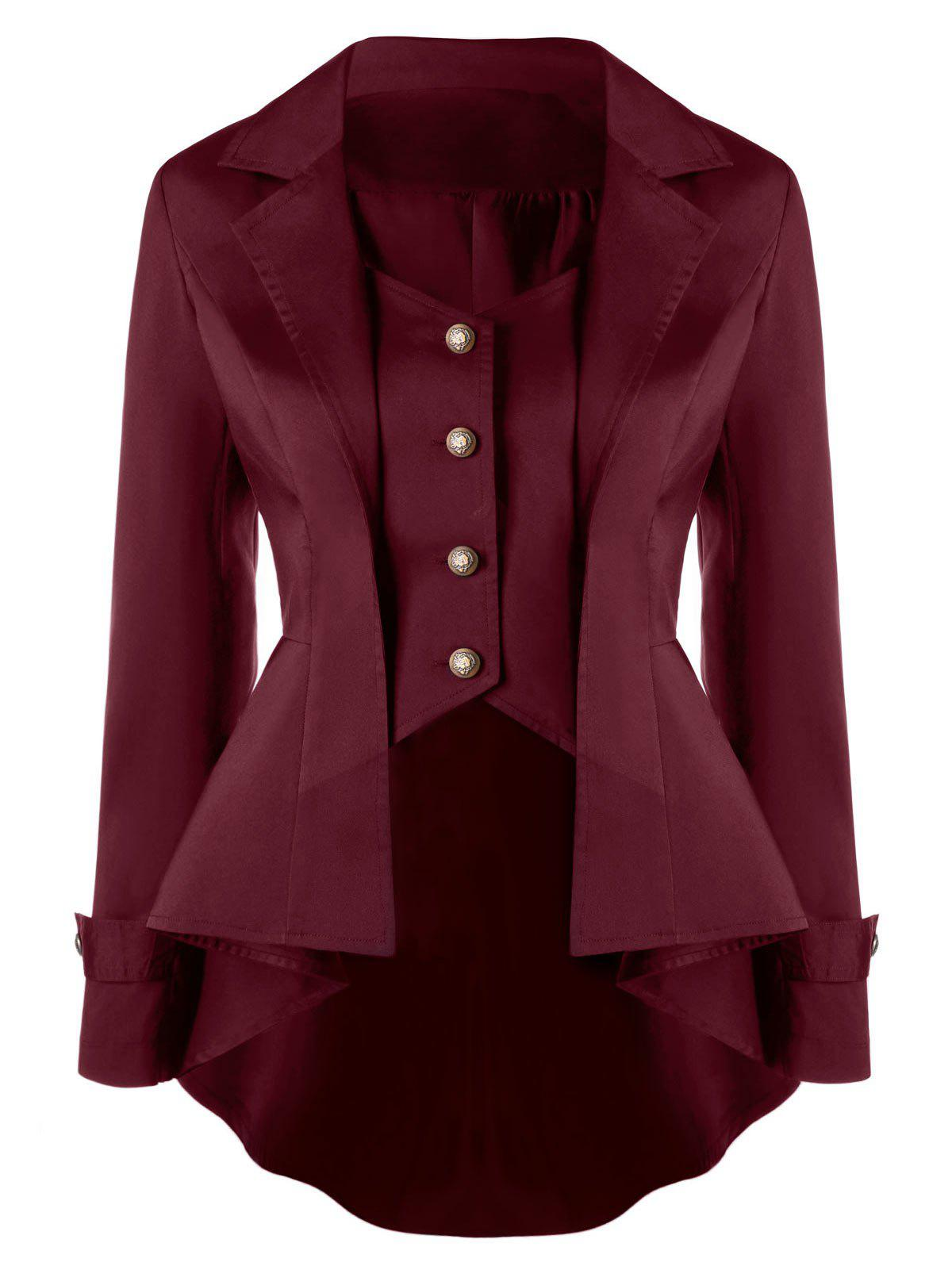 Button Up Notched Collar High Low Coat - DARK RED XL