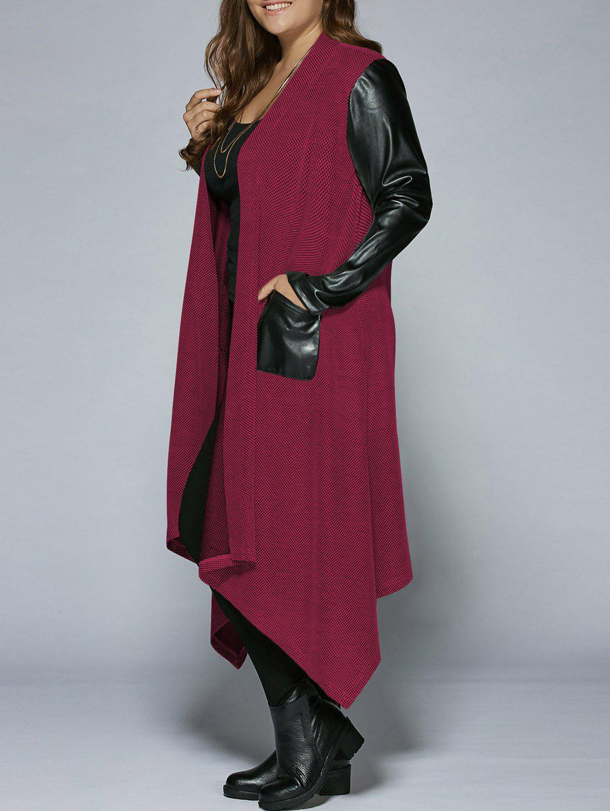 Plus Size PU Leather Trim Longline Asymmetrical Coat - RED 5XL