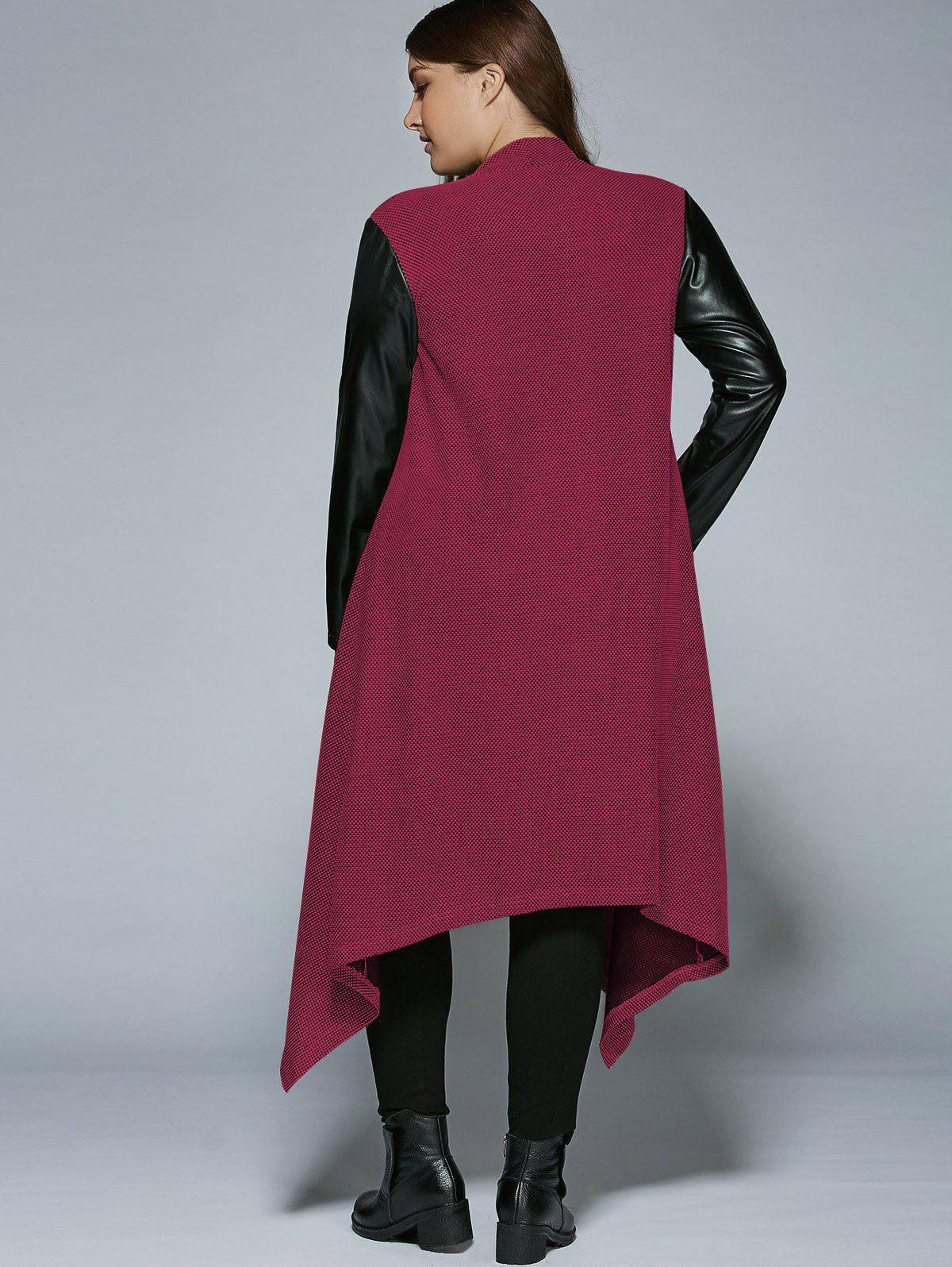 Plus Size PU Leather Trim Longline Asymmetrical Coat - RED 3XL