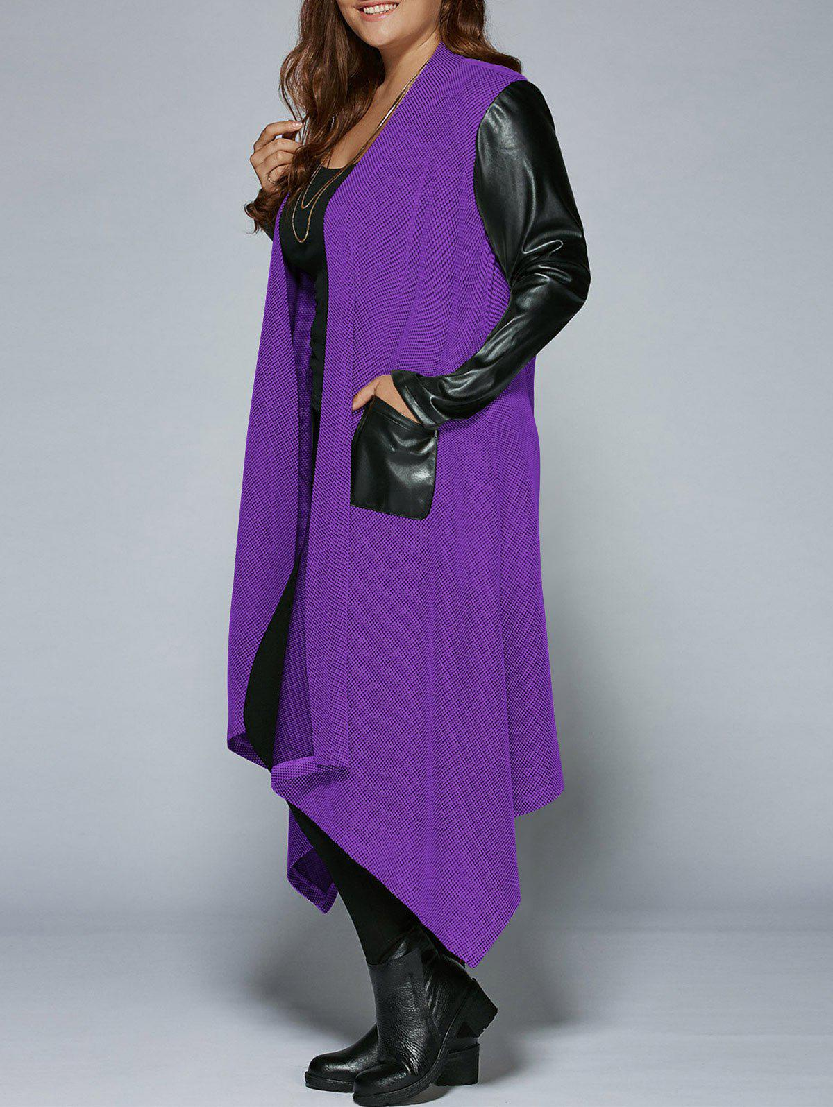 Plus Size PU Leather Trim Longline Asymmetrical Coat - PURPLE 4XL