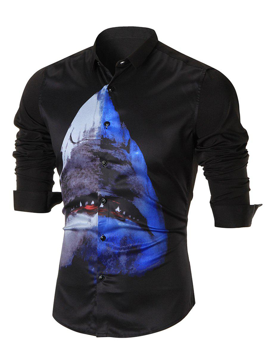 Shark Print Slim-fit Long Sleeve Shirt - BLACK 3XL