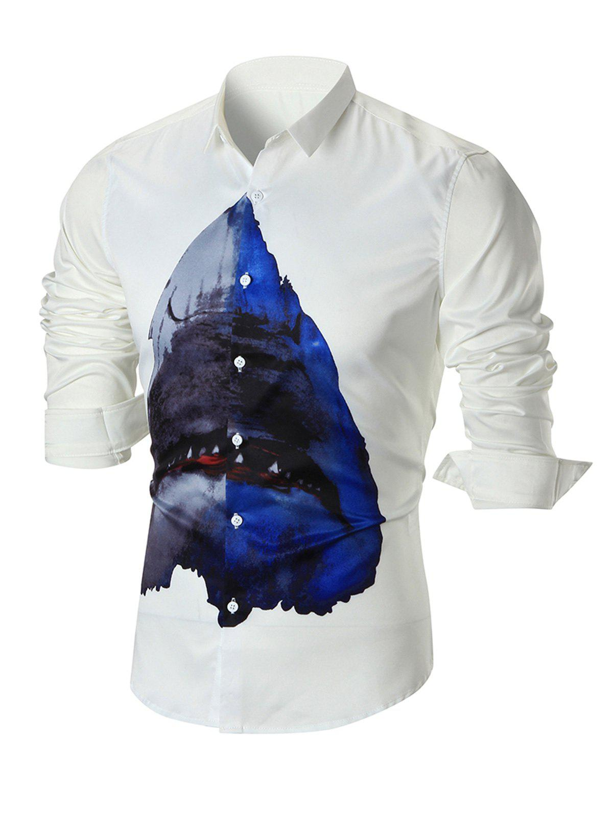 Shark Print Slim-fit Long Sleeve Shirt - WHITE L