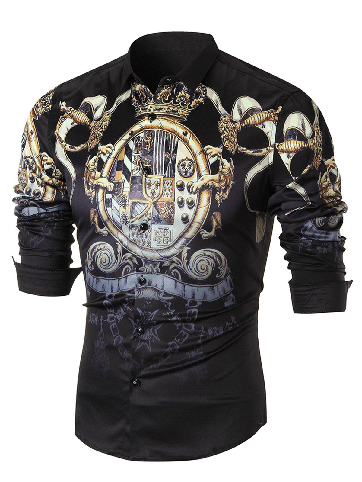 Ornate Print Long Sleeve Casual Shirt - BLACK 4XL