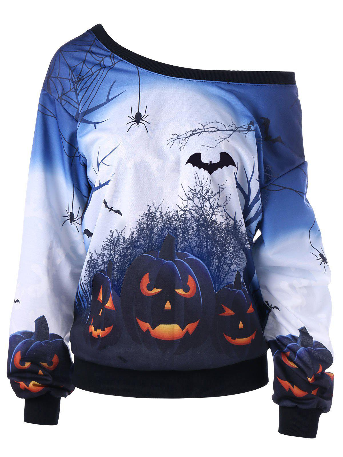 Halloween Plus Size Skew Neck Pumpkin Print Sweatshirt - WHITE 5XL