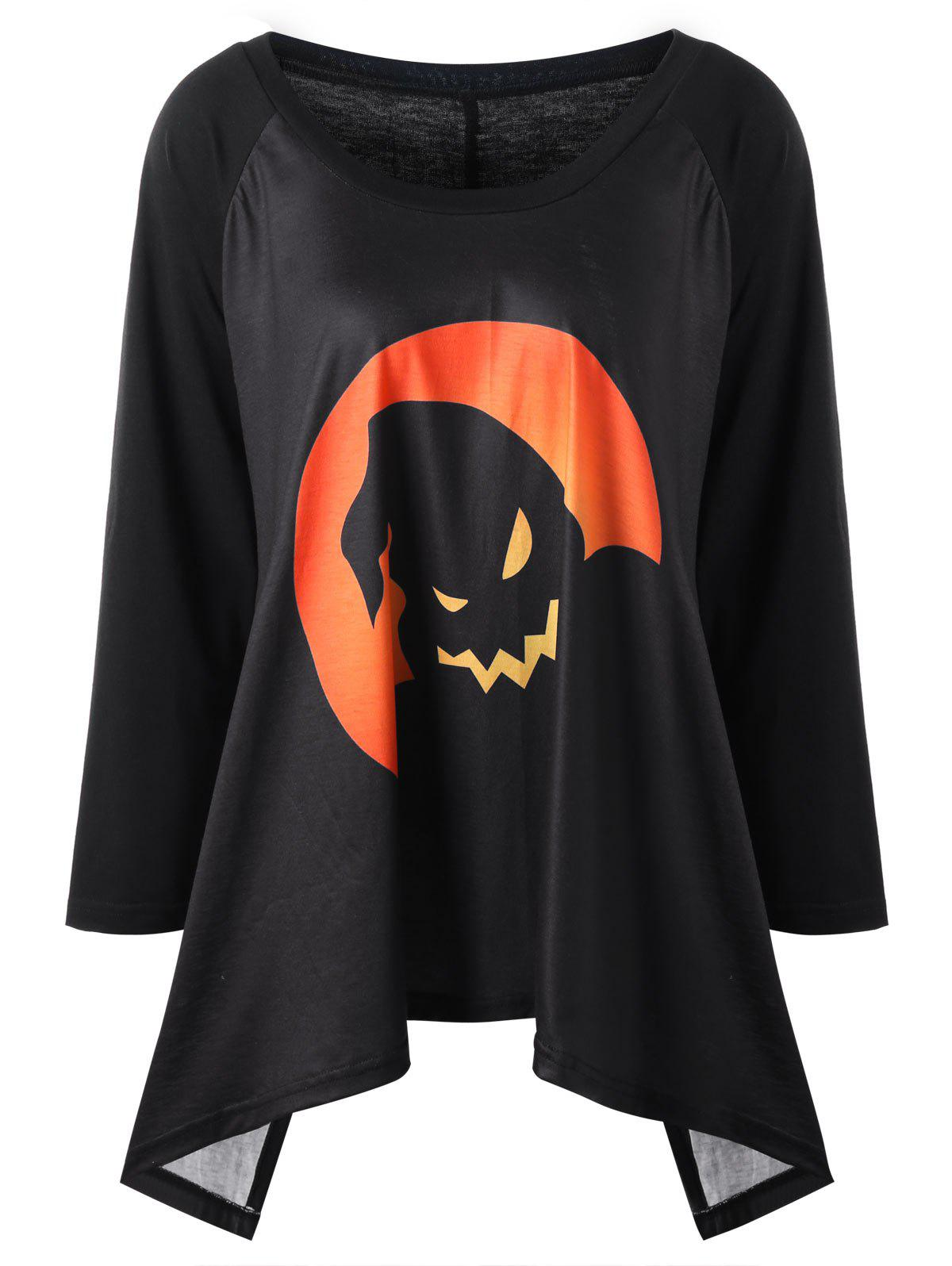 Plus Size Halloween Raglan Sleeve Top - BLACK/ORANGE 5XL
