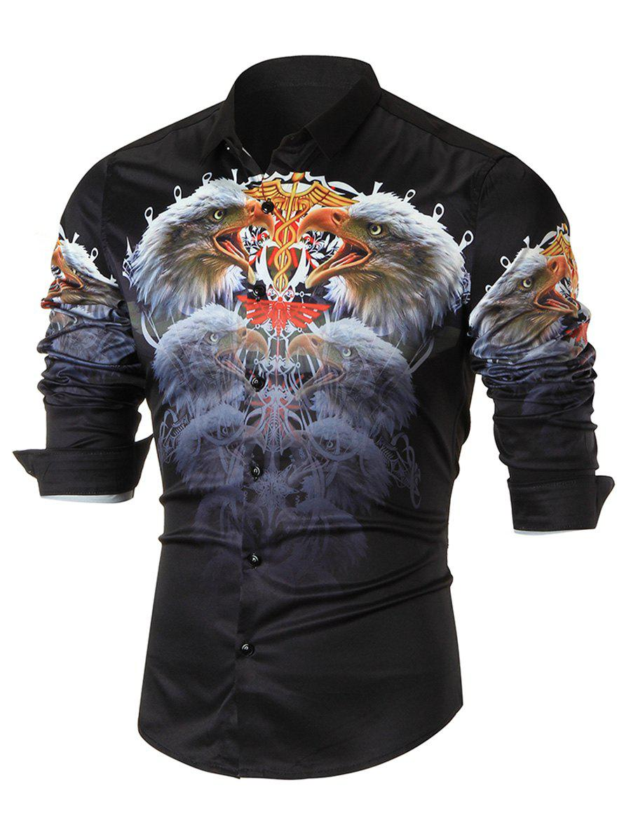 3D Eagle Printed Casual Long Sleeve Shirt - BLACK XL