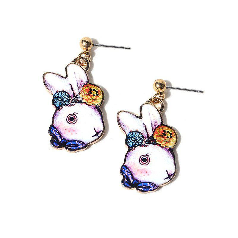 Cute Flower Bows Rabbit Drop Earrings - BLUE