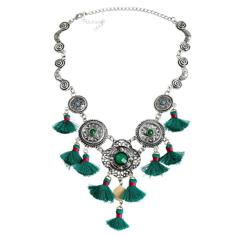 Bohemian Faux Gem Tassel Round Necklace - GREEN