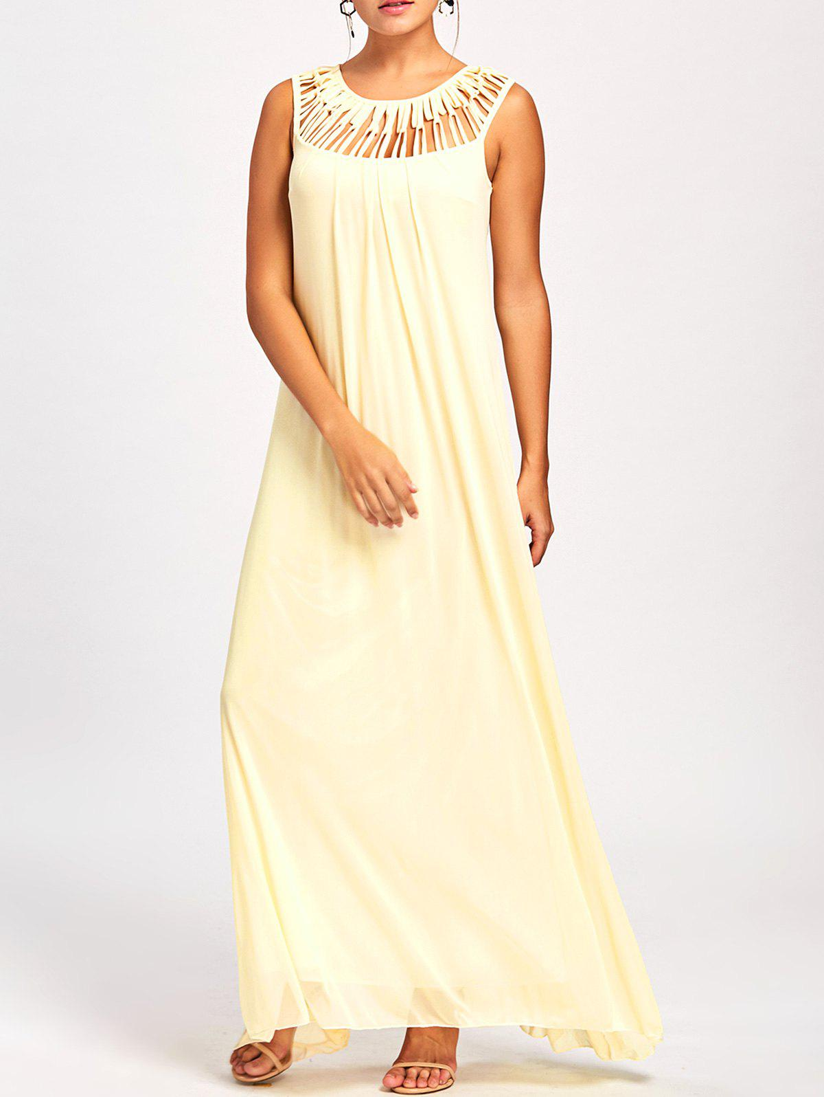 Hollow Out Sleeveless Maxi Dress - LIGHT YELLOW ONE SIZE