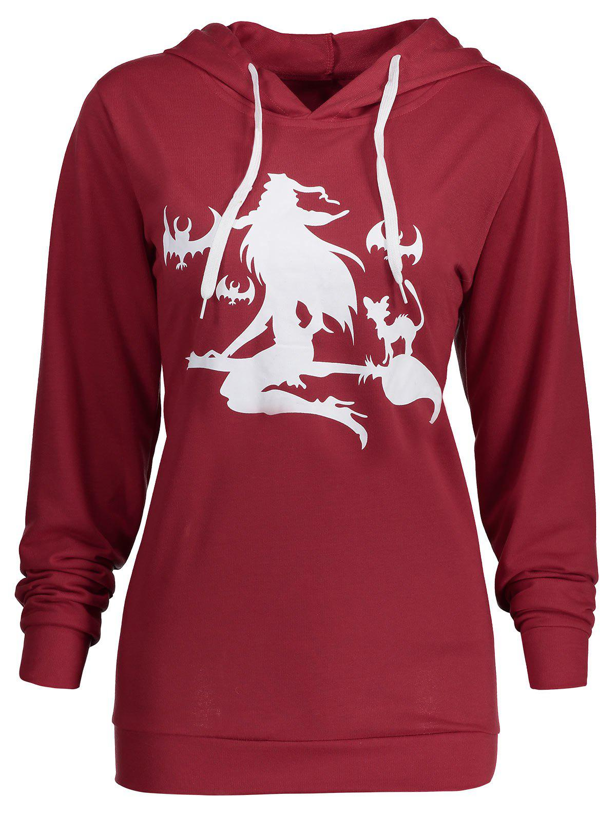 Plus Size Halloween Witch Print Hoodie
