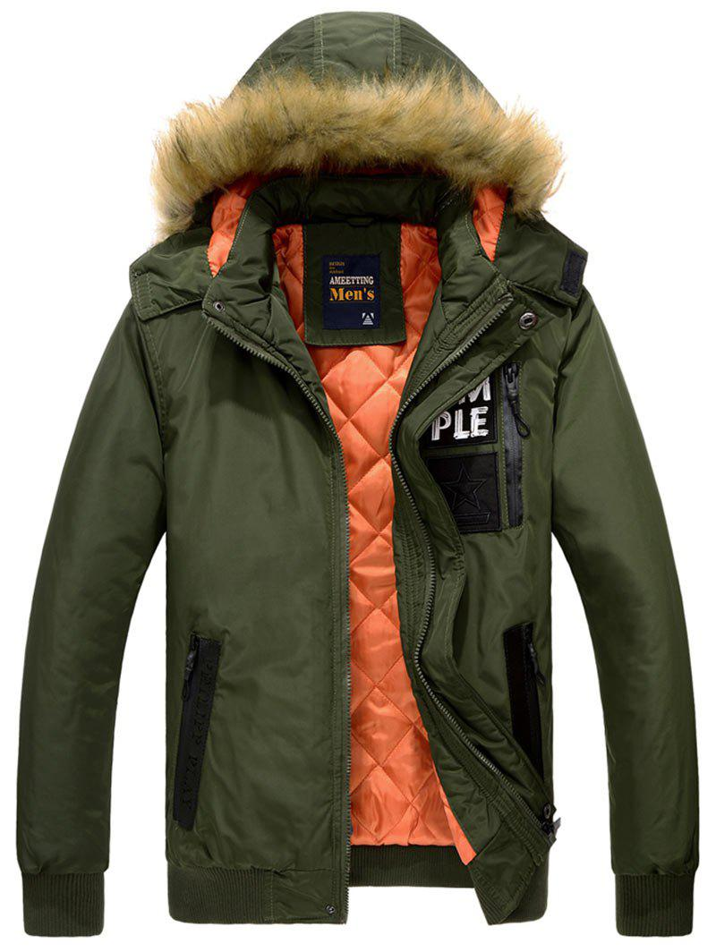 Zipper Up Detachable Hood Patched Jacket - ARMY GREEN L