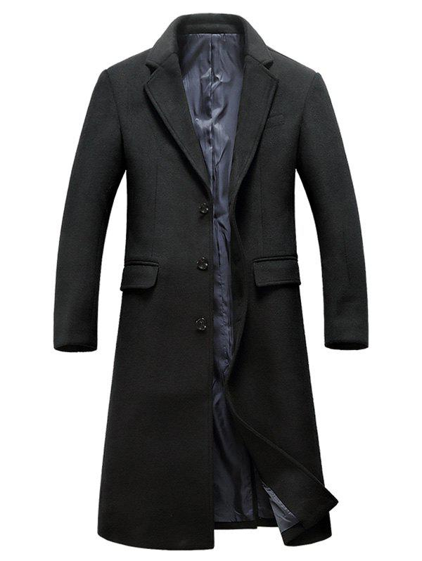 Lapel Flap Pocket Wool Blend Longline Coat - BLACK 2XL