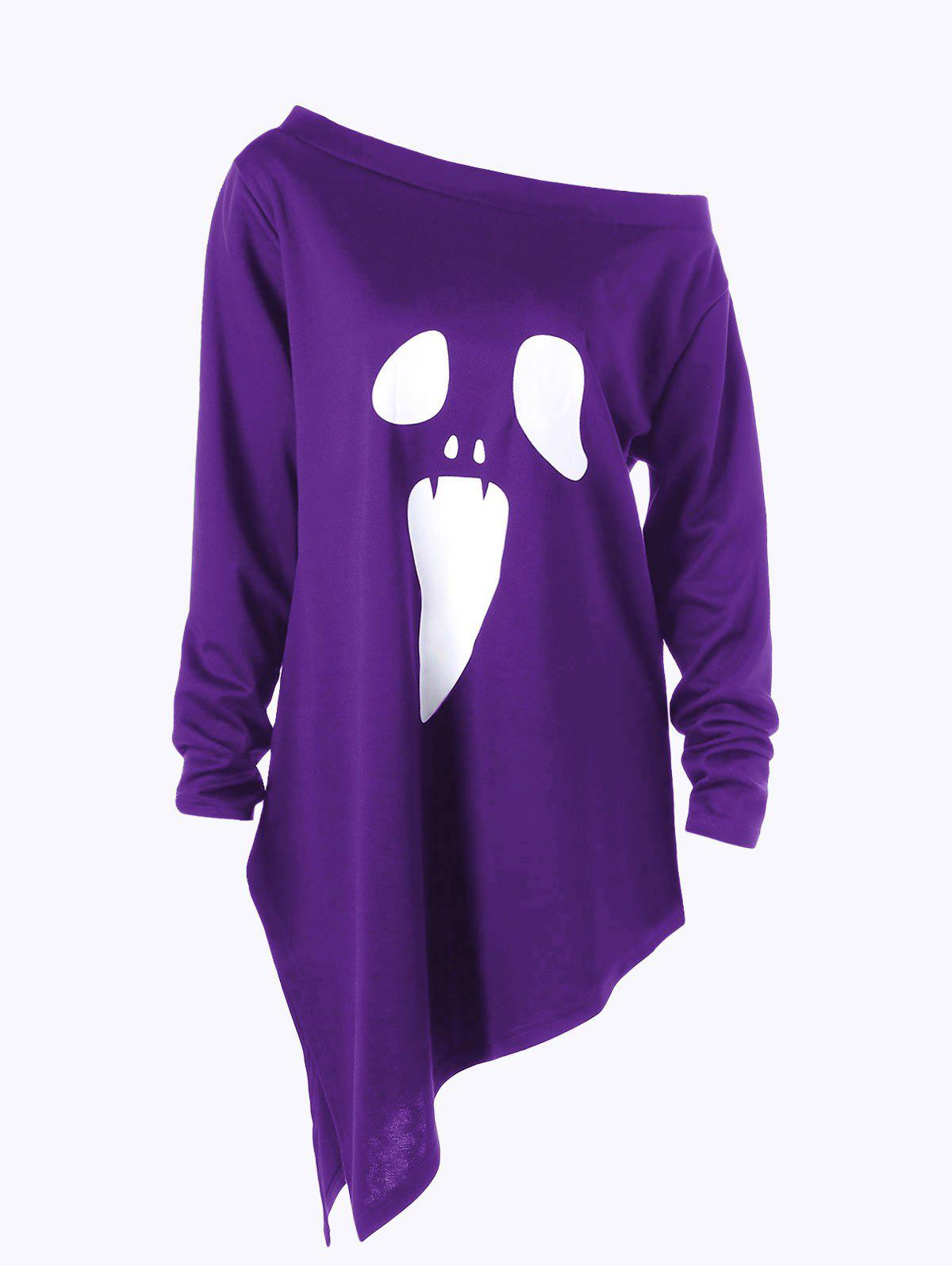 Halloween Plus Size Skew Neck Asymmetric Graphic Sweatshirt - PURPLE 3XL