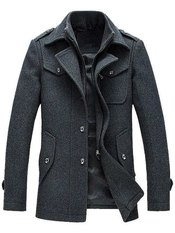 Wool Blend Epaulet Design Faux Twinset Jacket отсутствует евангелие на церковно славянском языке
