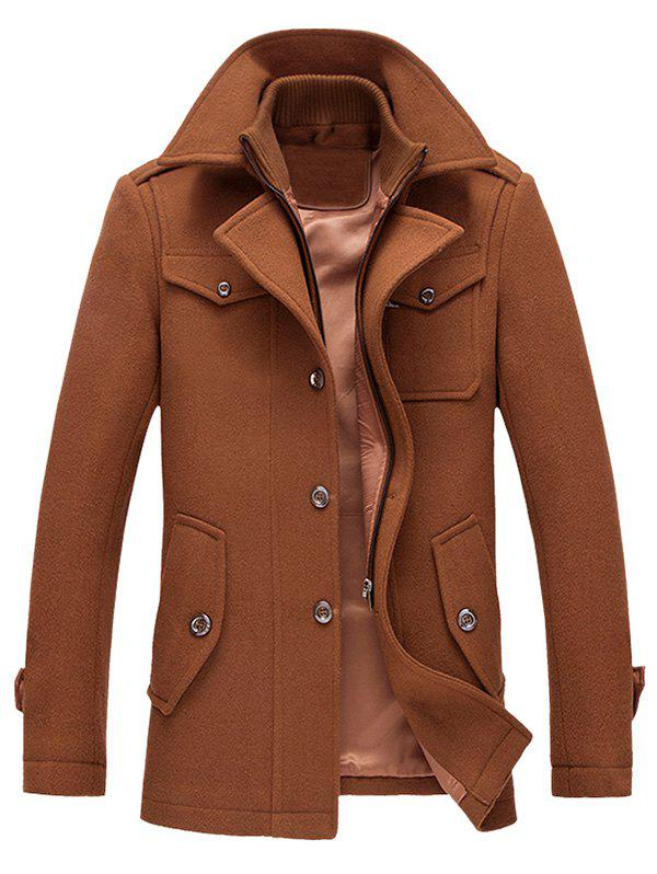 Wool Blend Epaulet Design Faux Twinset Jacket - BROWN M