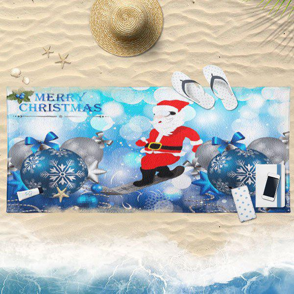 Christmas Balls Santa Claus Bath Towel - ICE BLUE 75CM*150CM