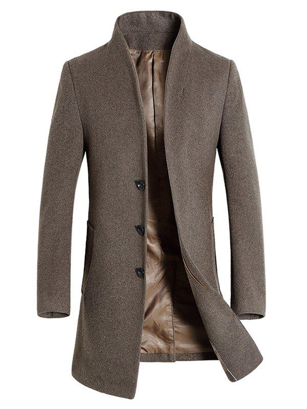Wool Blend Covered Button Shawl Collar Coat - PALE BROWN XL