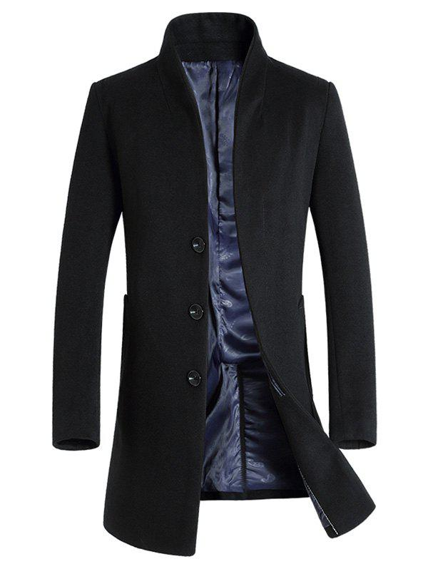 Wool Blend Covered Button Shawl Collar Coat - BLACK 2XL