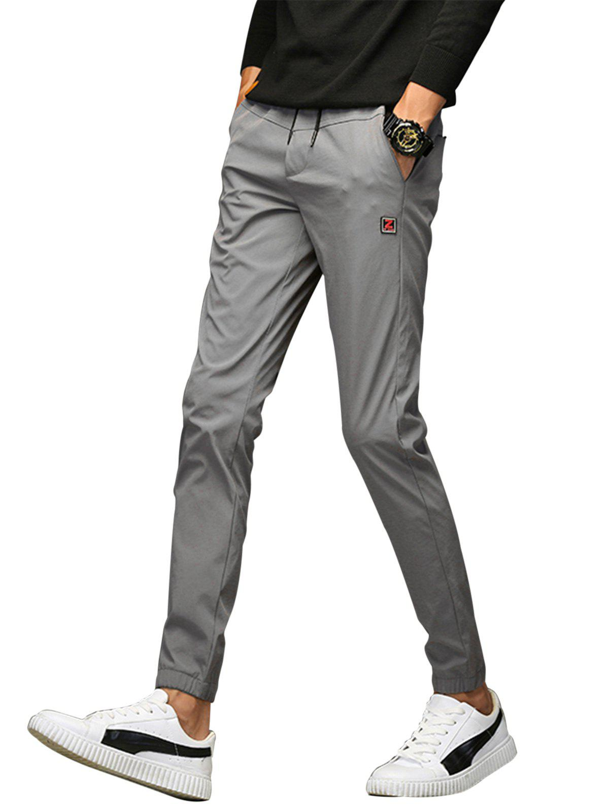 Drawstring Applique Beam Feet Jogger Pants - GRAY 36