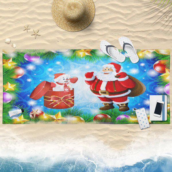Santa Claus Christmas Printed Bath Towel - BLUE 75CM*150CM