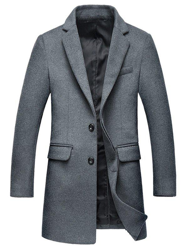 Covered Button Flap Pocket Wool Blend Coat - GRAY 2XL