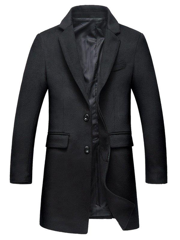 Covered Button Flap Pocket Wool Blend Coat - BLACK 3XL