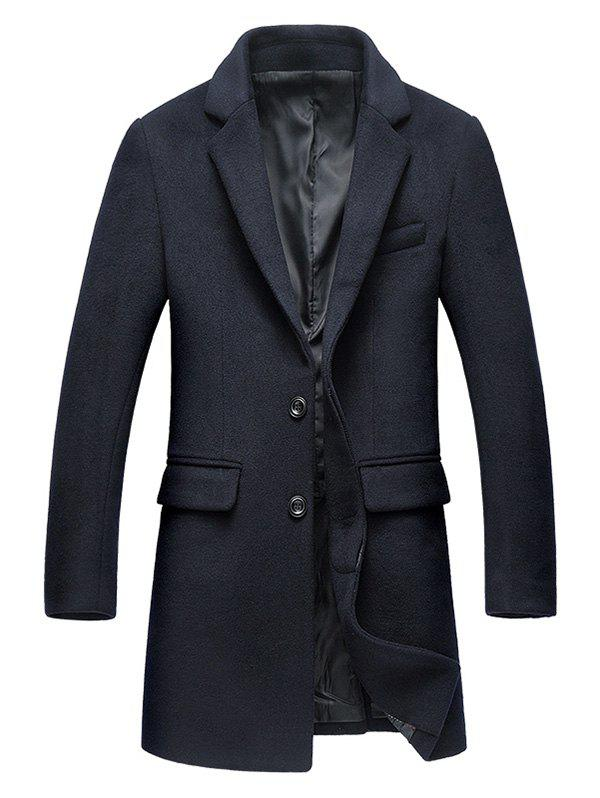 Covered Button Flap Pocket Wool Blend Coat - PURPLISH BLUE XL
